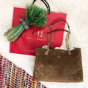 CAROLINA HERRERA Quilted Suede Bag